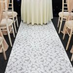 White & Silver Scroll Aisle Runner