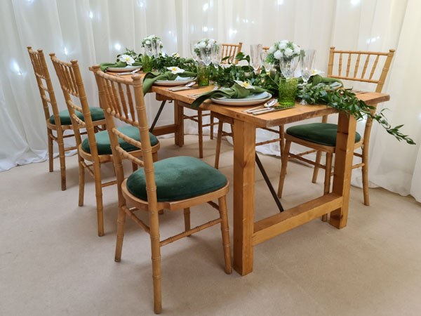 Natural Wood Chivari with 11 x seat pad options available