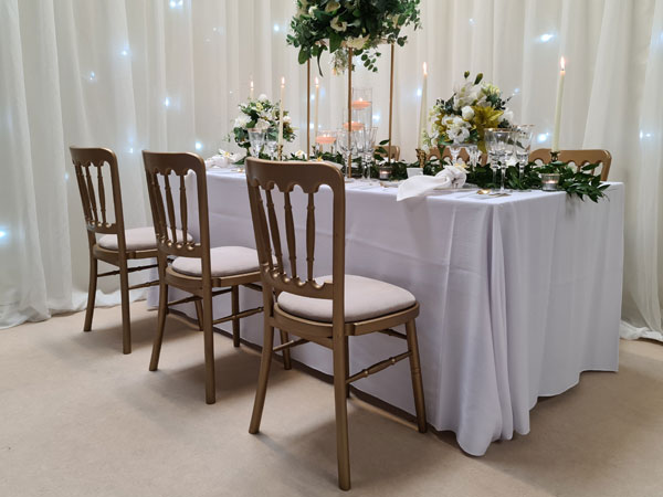 Gold Banqueting Chair with 11 x seat pad options available