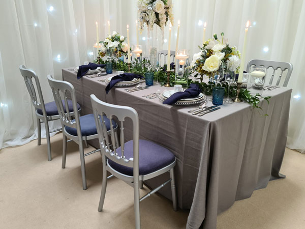 Silver Banqueting Chair with 11 x seat pad options available