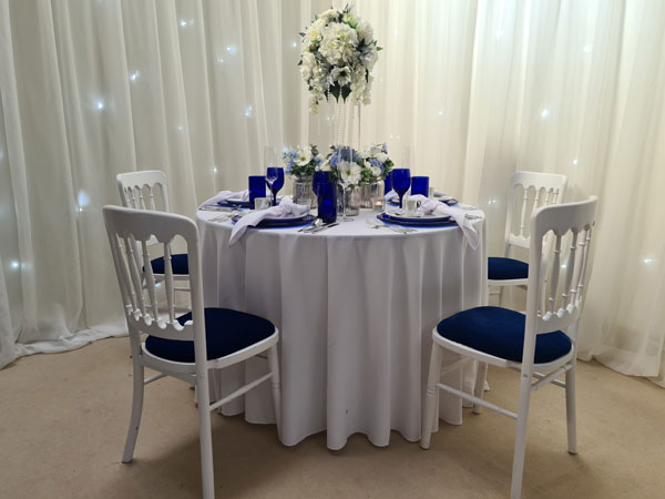 White Banqueting Chair with 11 x seat pad options available