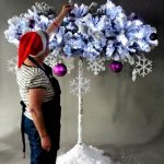 Christmas Large 6ft Frosted & Lit Umbrella Tree