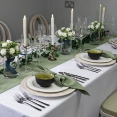 25. Sage Green Natural Table Runner