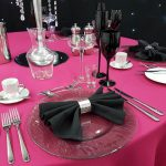 Smokey Grey Charger Plates & Black Glassware