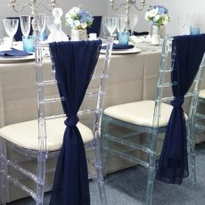 3. Navy Blue Drapes on Ice Chivari Chairs