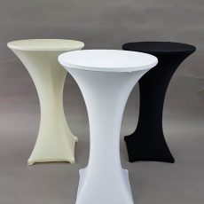 34. Poseur Tables with Black, White & Ivory Stretch Cloth