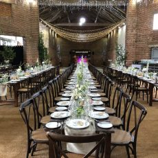 7. Dark Wood Rustic Table Event Example