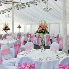 7. White Linen Chair Cover & Baby Pink Tafetta Sash