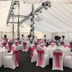 9.White Stretch Chair Covers & Fuchsia Pink Organza Sash