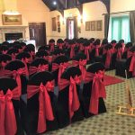 Chair cover (black) with red sash example