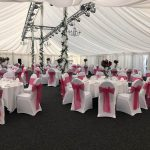 Chair cover with fushia pink sash example