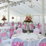 Chair cover with pink sash example