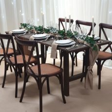 17. Light Brown Rustic Table. Seats 6 Guests