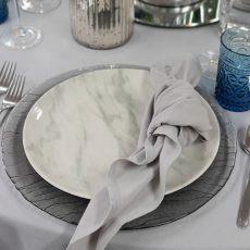 7.Gold Rim Marble Food Safe Plate
