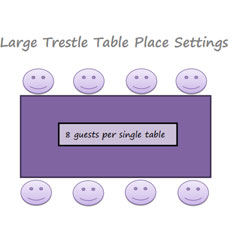 26. Large 1m x 2m Trestle Tables Place Settings