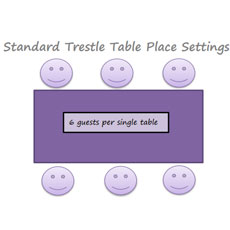 30.Standard 6ft x 2ft3 Tables Place Settings